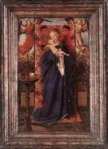 """1439 Oil on wood, 19 x 12 cm Koninklijk Museum voor Schone Kunsten, Antwerp"""" src=""""https://keskiajanyrttitarha.files.wordpress.com/2013/01/29founta.jpg?w=219"""" width=""""219"""" height=""""300"""" /> Madonna and Child at the Fountain 1439 Oil on wood, 19 x 12 cm Koninklijk Museum voor Schone Kunsten, Antwerp"""